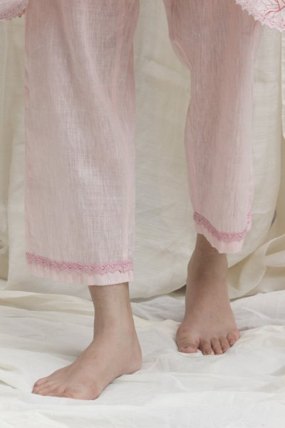 Linen Pants with Lace trim