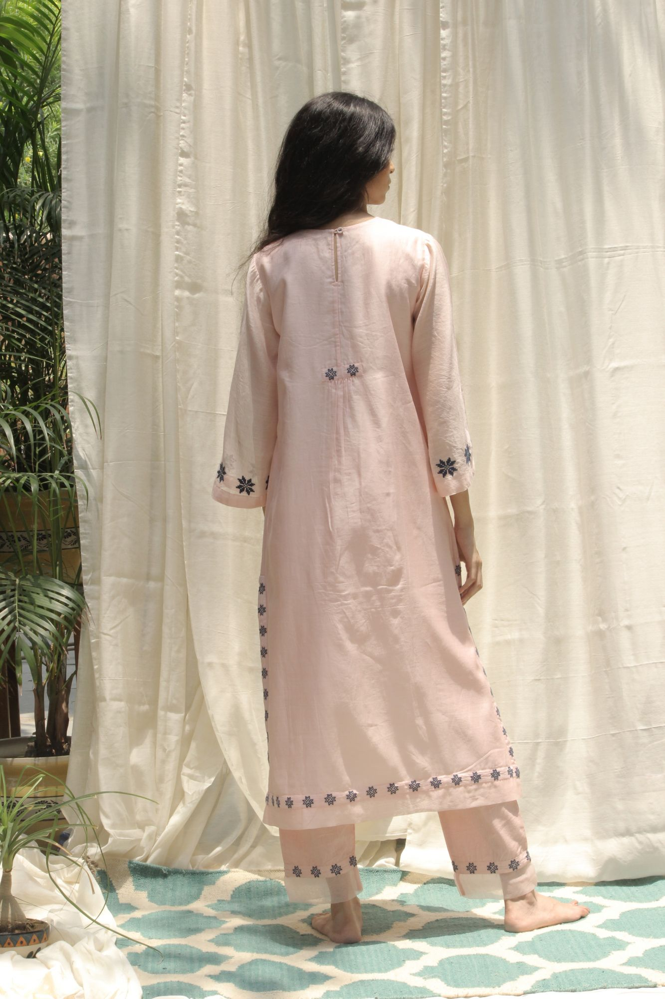 BABY PINK LONG PANEL KURTA SET