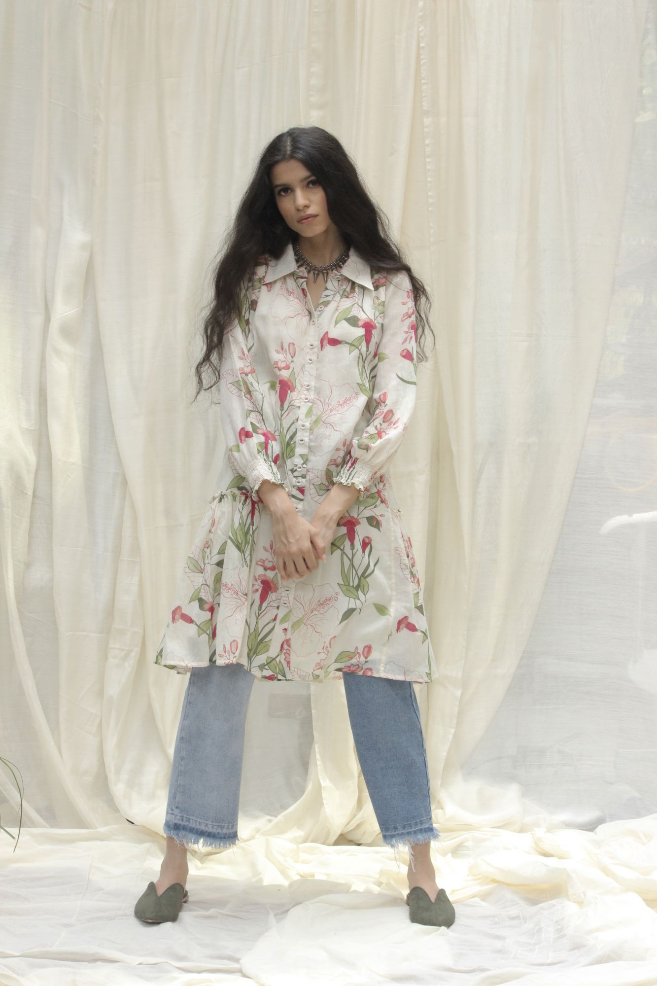 Tulip Flower Tier Shirt Dress