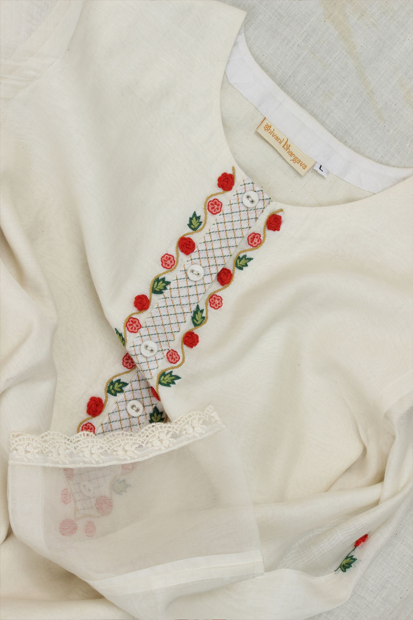 Floral Rose Embroidery Kurta