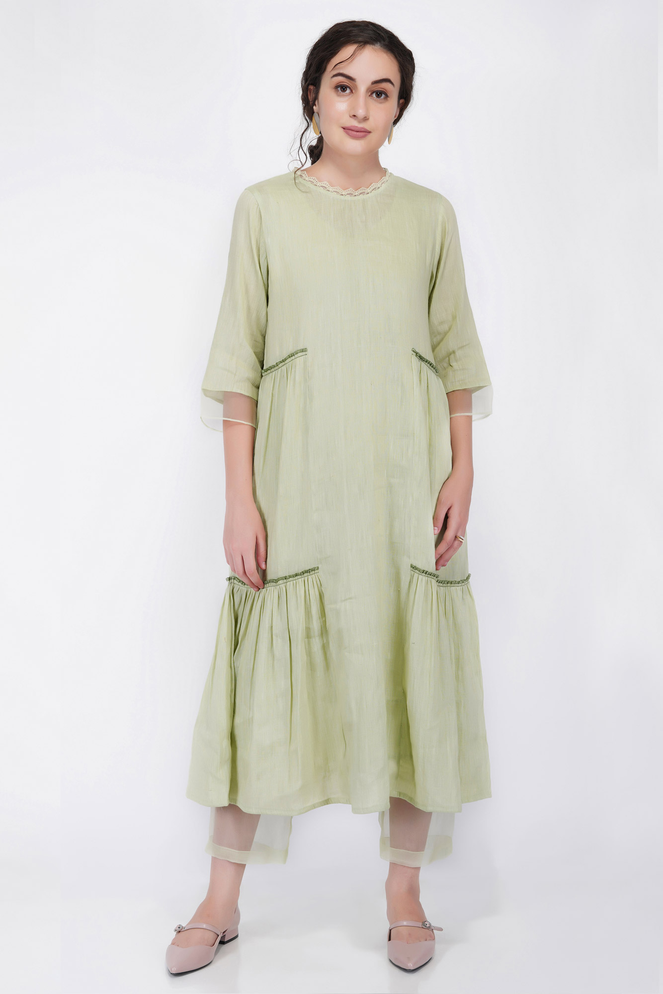 Linen Gather Frill Tier Dress