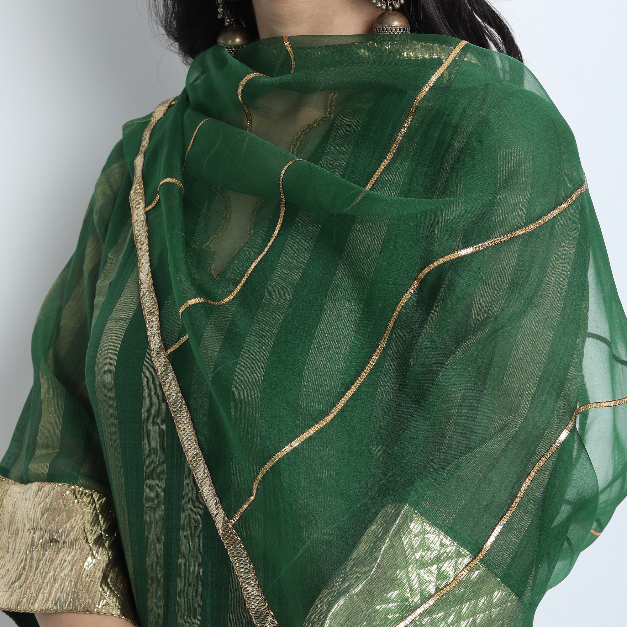 Emerald Green Organza Silk with Gota work Meera Dupatta