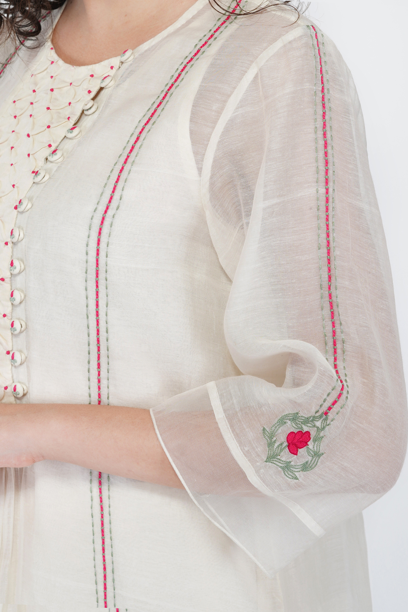 Smocking With Floral Embroidery