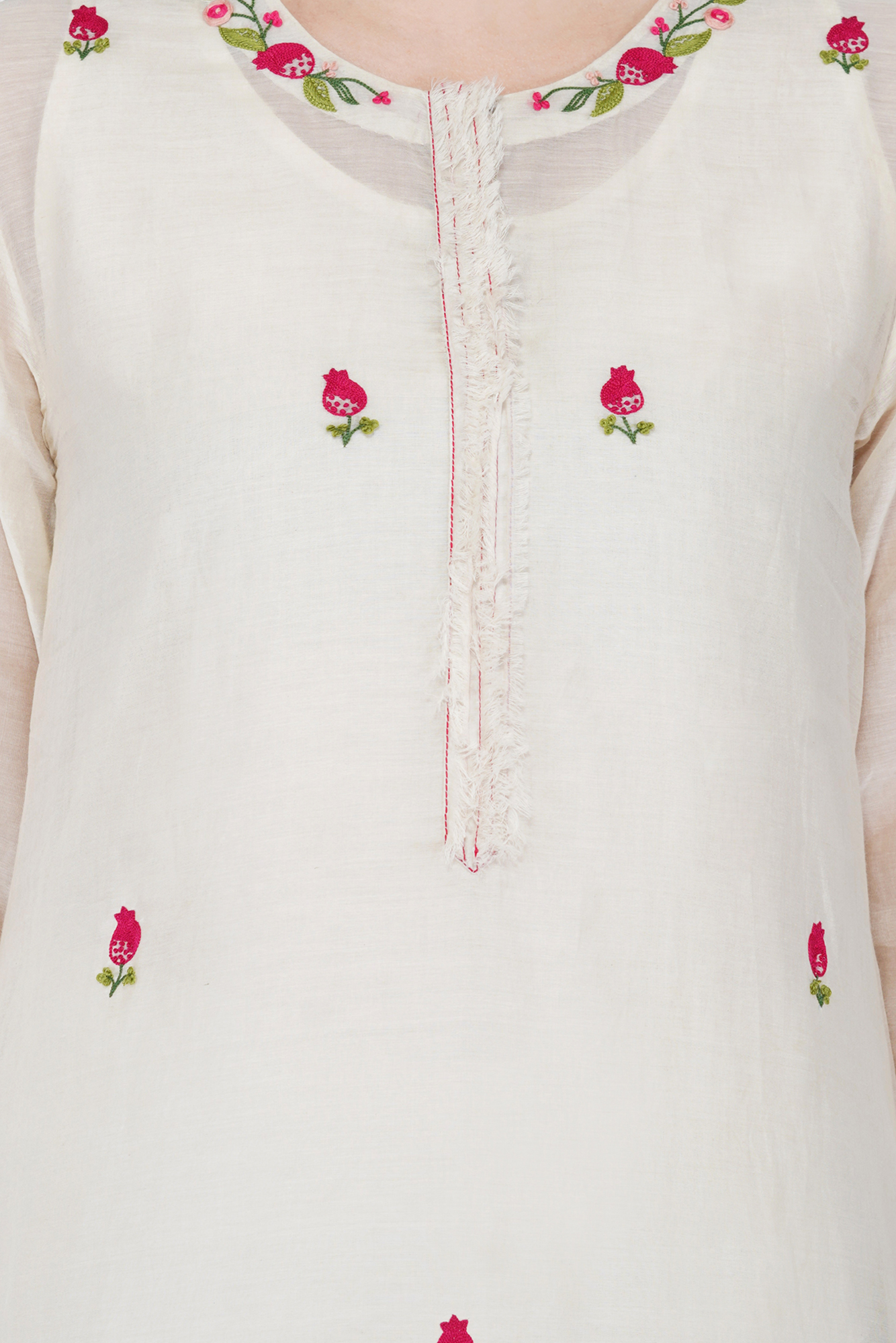 Ivory hand embroidery floral and anaar Kurta in soft chanderi