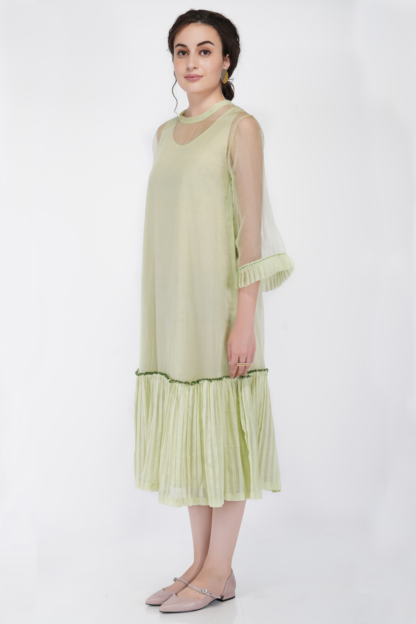 Organza Gather Frill Dress