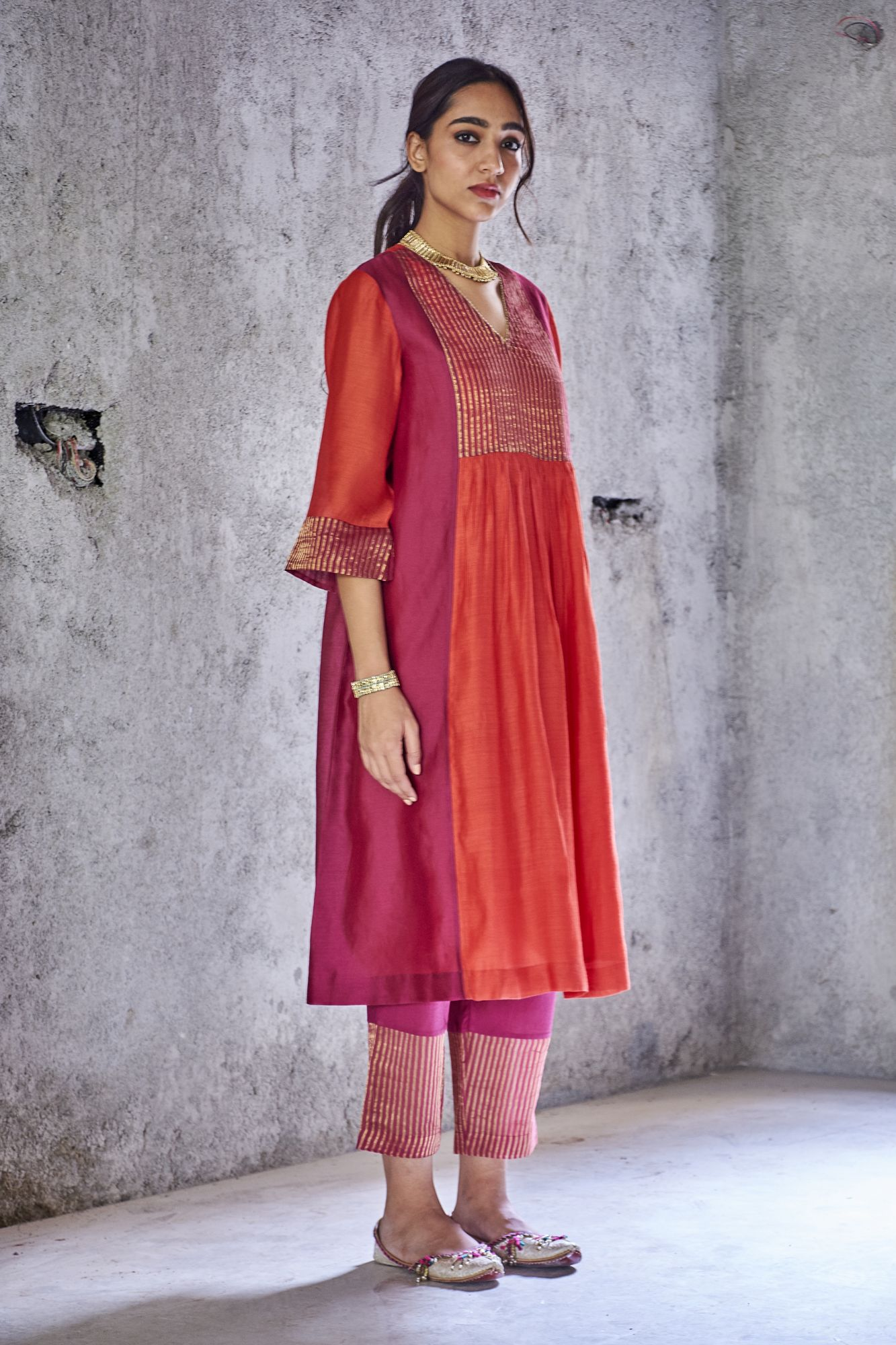 Red Cotton Zari Stripe Chanderi Straight Uma Pants