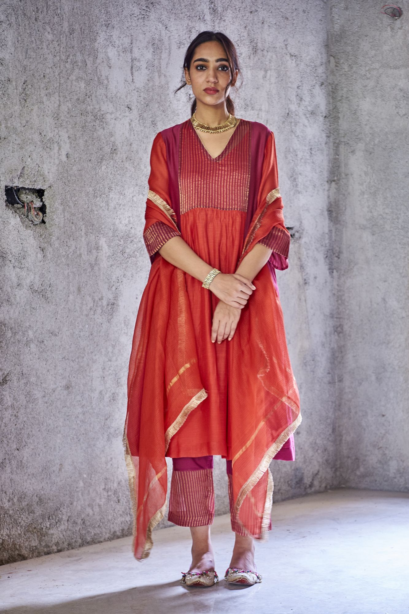 Red Silk Chanderi Uma Kurta Set