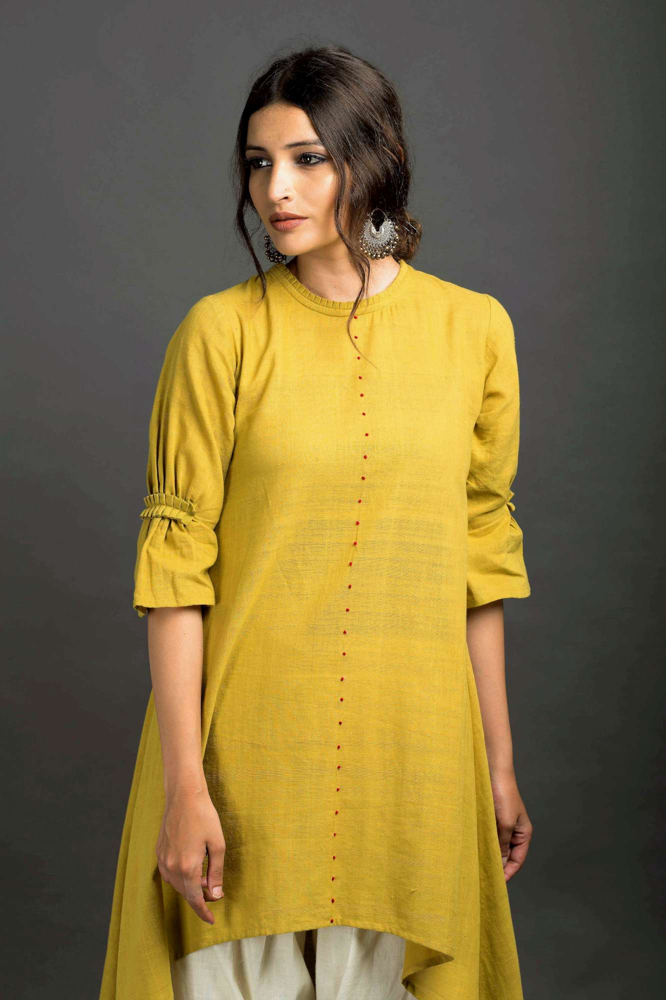 French Knot High Low Asymmetric Tunic