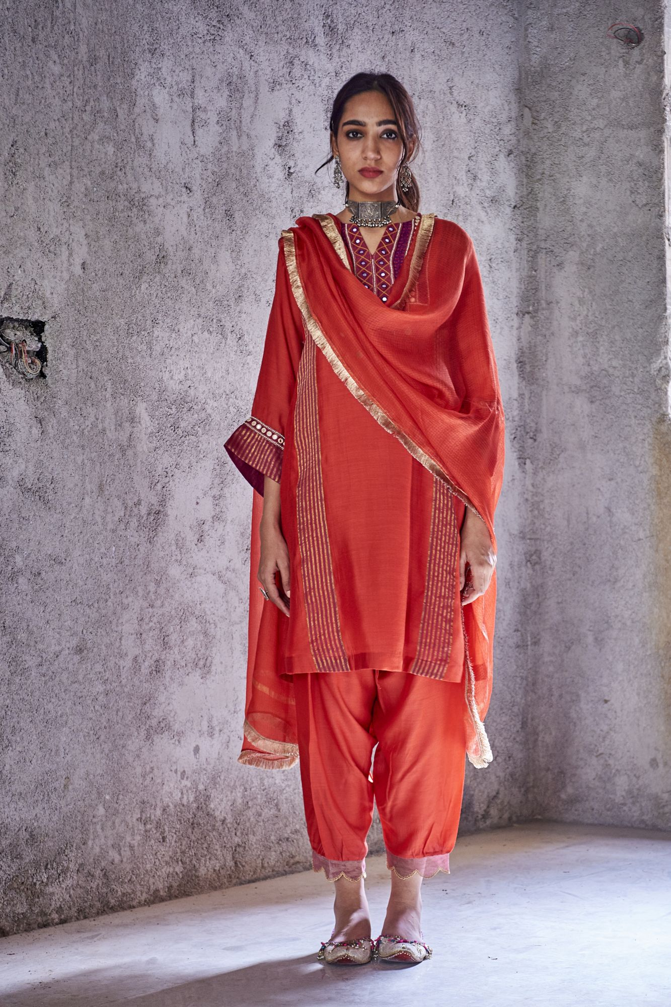 Red Kota Silk Dupatta With Gold Fringe